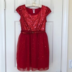 Girls Red Sparkly Holiday Dress